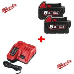 Milwaukee pack NRJ 2 batteries 18V 5.0 Ah et un chargeur M12-18FC