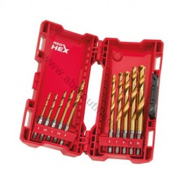Milwaukee coffret de 10 forets métaux HSS-G-RED HEX