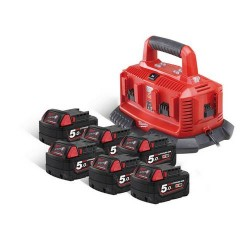 Milwaukee pack 6 batteries 5.0 Ah et chargeur