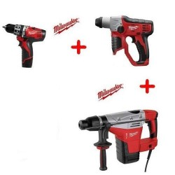 Milwaukee Pack perceuse percussion C12 PD 22C, perforateur M12 H-0, marteau perforateur Kango 545 S