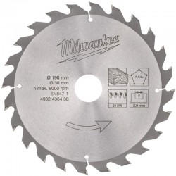 Milwaukee lame de scie circulaire 190 x 30 mm 24 dents