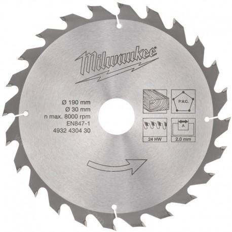 Milwaukee lame de scie circulaire 190 x 30 mm 24 dents
