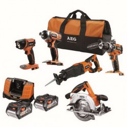 AEG pack 5 outils bois 18 volt JP18B5LI-402B