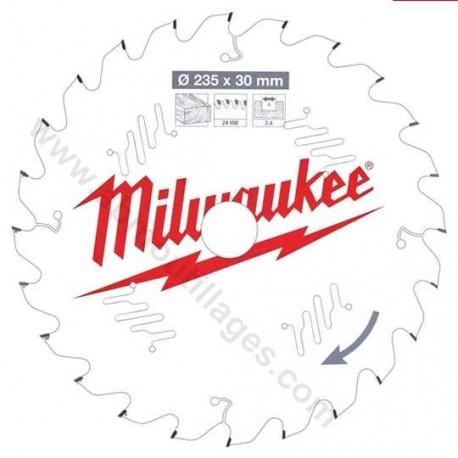 Milwaukee lame carbure 24 dents diamètre 235 mm