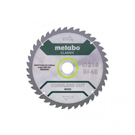 Metabo lame de scie circulaire 216 X 30 Z 40 WZ 5°