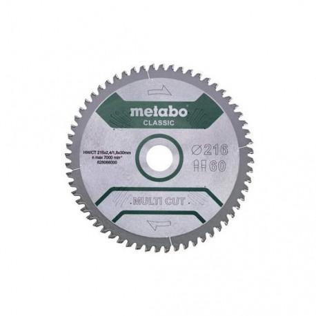 Metabo lame de scie circulaire 216 X 30, Z60 FZ / TZ, 5° NÉG