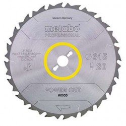 Metabo lame de scie POWER CUT WOOD PROFESSIONAL, 315X30, Z20 FZ 22°