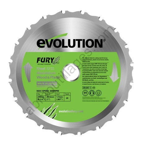 Evolution lame multi-usages FURY 210 mm - 0849713019967