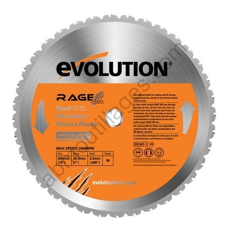 Evolution lame multi-usages RAGE 355mm
