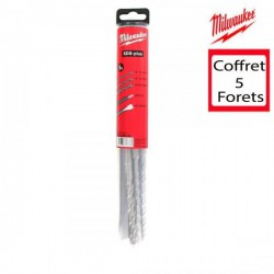 Milwaukee coffret 3 forets et 2 burin sds-plus