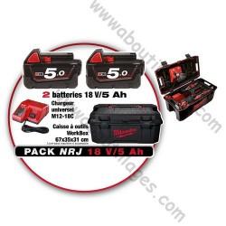 Milwaukee pack NRJ de 2 batteries 18V/ 5 Ah