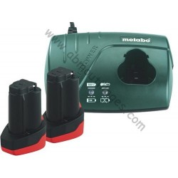 Metabo pack de 2 batteries10.8 volt plus chargeur