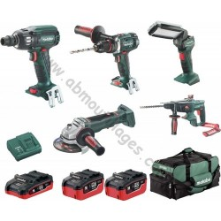 Metabo pack de démarrage métal 4 machines, lampe et 3 batteries