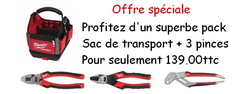 Pack sac de transport plus trois pinces Milwaukee